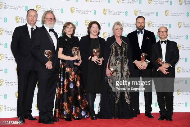 Winners of the Outstanding British Film award Andrew Lowe Tony McNamara Deborah Davis Lee Magiday Ceci Dempsey director Yorgos Lanthimos and Ed...