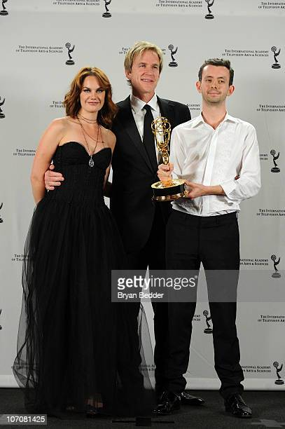 Winners of the TV Movie/MiniSeries Award actress Ruth Wilson and Controller/drama Commissioner of BBC Ben Stephenson and actor Matthew Modine pose in...