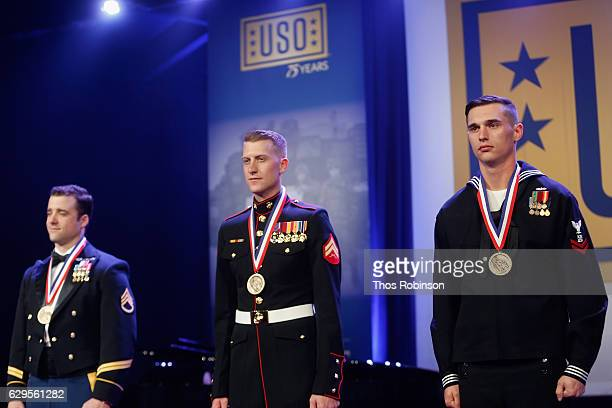 Winners of the USO George Van Cleave Military Leadership Award US Army Green Beret Staff Sgt Michael Sargent US Marine Corps Cpl Daniel L Meinema and...