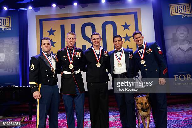 Winners of the USO George Van Cleave Military Leadership Award US Army Green Beret Staff Sgt Michael Sargent US Marine Corps Cpl Daniel L Meinema US...