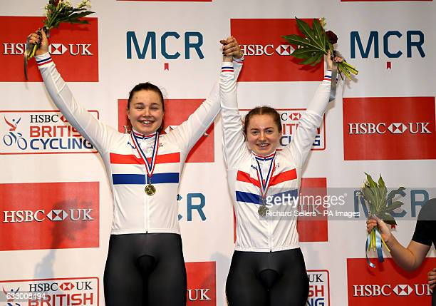Winners of the Women's Team Sprint Team Terminator's Lauren BateLowe and Sophie Capewell celebrate on the podium during day three of the HSBC UK...