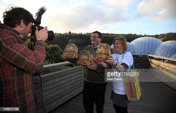 Winners of the World Cornish Pasty Championships, Suzanne Manson, who won the amateur category and Graham Cornish, from Ginsters who won the...