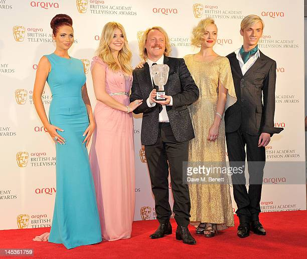 Winners of the YouTube Audience Award Holly Willoughby Leigh Francis aka Keith Lemon and Fearne Cotton pose with presenters Amy Childs and Harry...