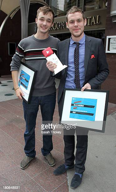 Winners of the YouTube Award for Best Canadian Short Film for 'Noah', filmmakers Patrick Cederberg and Walter Woodman attend the 2013 Awards Brunch...