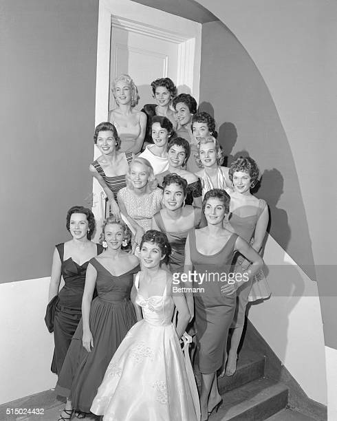 Winners Of Wampas Baby Stars Of 1956 Left to right front row are Dawn Richard Los Angeles Doreen Stevens Atlantic City New Jersey Barbara Marks San...
