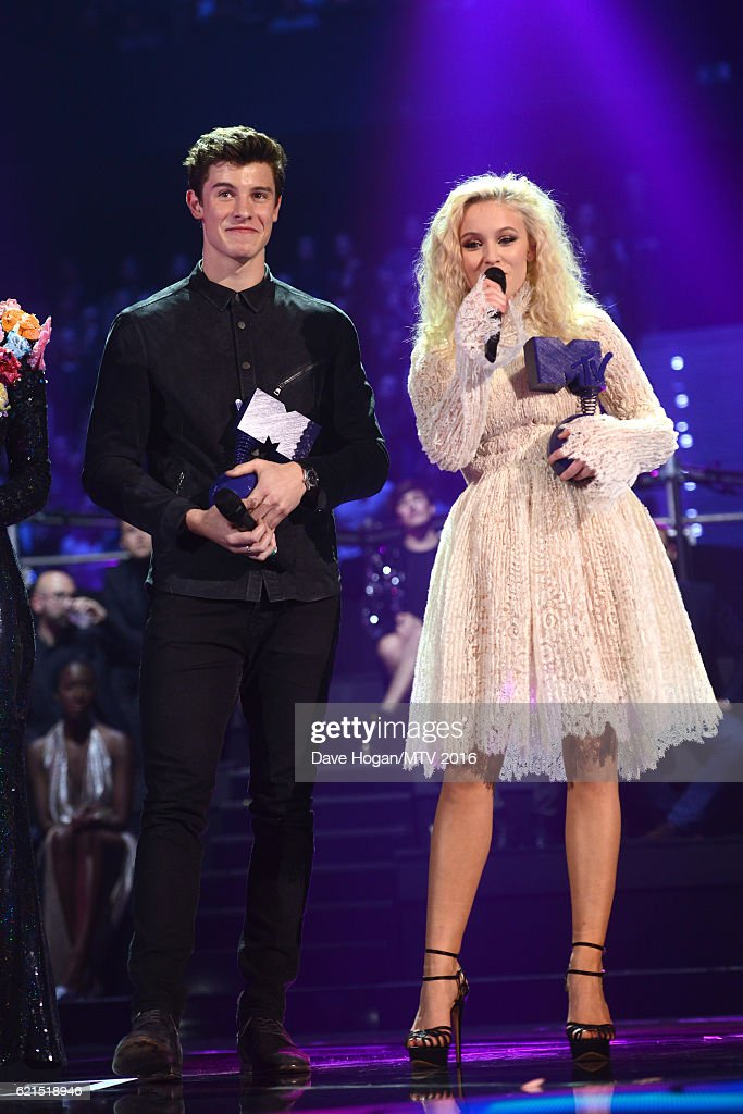 Winners of Woldwide Act award Shawn Mendes and Zara Larsson with their awards on stage during the MTV Europe Music Awards 2016 on November 6, 2016 in Rotterdam, Netherlands.