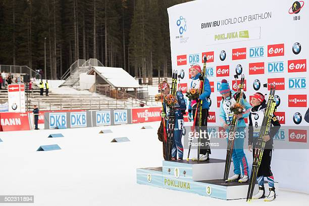 POKLJUKA SLOVENIA POKLJUKA SLOVENIA Winners of women 125 km mass start at Biathlon World Cup race on Pokljuka on podium From left Gabriela Soukalova...