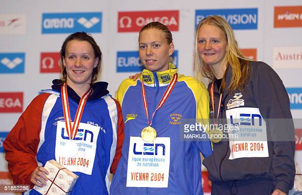 Winners of Women's 200 meters Freestyle Melanie Marshall GBR second Josefin Lillhage SWE first Petra Dallmann GER third present their medals during...
