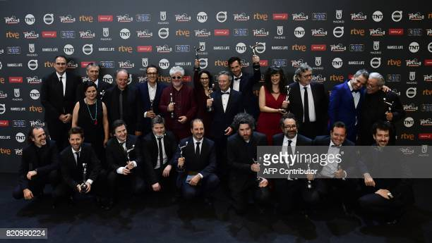 Winners pose for a family photo at the end of the 4th edition of the 'Premios Platino' for IberoAmerican Cinema awards ceremony in Madrid on July 22...