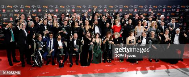 Winners pose for picture family during the 2018 edition of the 'Goya Cinema Awards' ceremony at Madrid Marriott Auditorium