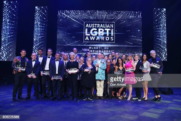 Winners pose on stage after the Australian LGBTI Awards at The Star on March 2 2018 in Sydney Australia