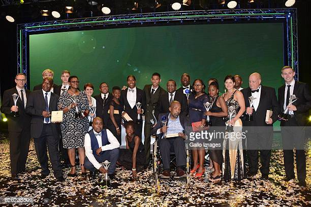 Winners pose with Minister of Sport and Recreation Fikile Mbalula during the SA Sports Awards on November 27 2016 in Bloemfontein South Africa The...