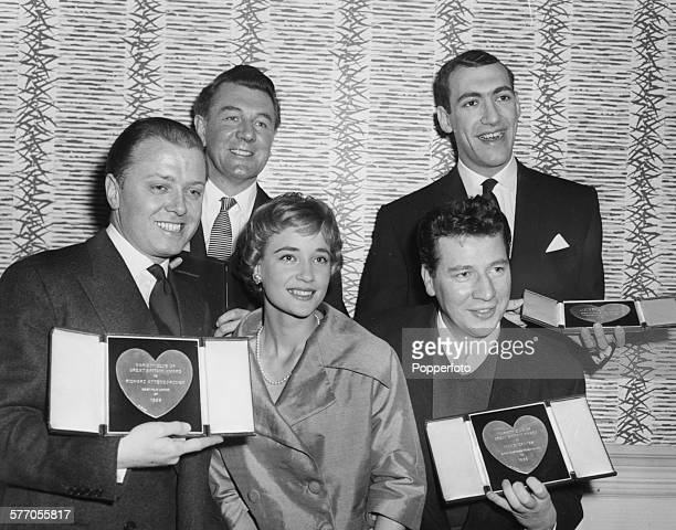 Winners posing with their awards at the Variety Club Show Business Awards Michael Redgrave and Bernard Bresslaw and Richard Attenborough Sylvia Syms...