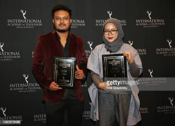 Winners Raj Dutta and Puti Puar attend the Young Creatives Awards Ceremony on November 16 2018 in New York City