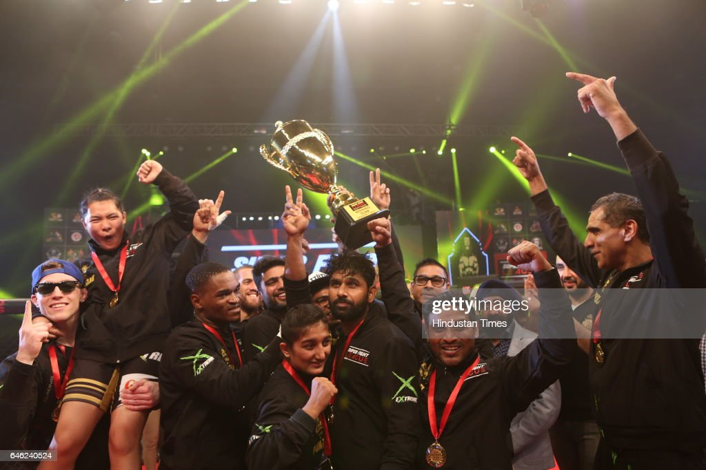 Winners SherePunjab team with Super Fight League Trophy at Siri Fort Sports Complex on February 25 2017 in New Delhi India