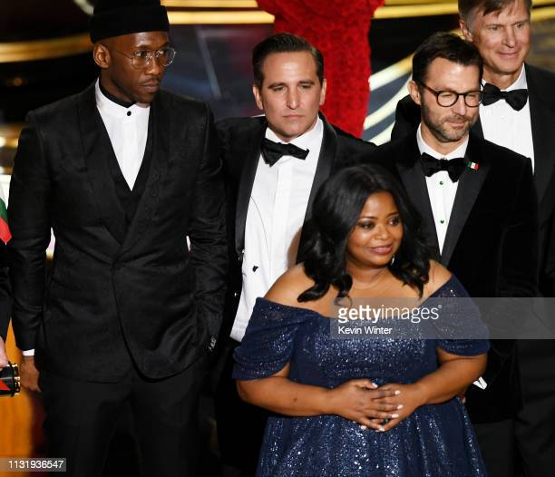 Winners such as Mahershala Ali and Octavia Spencer accept the Best Picture award for 'Green Book' onstage during the 91st Annual Academy Awards at...