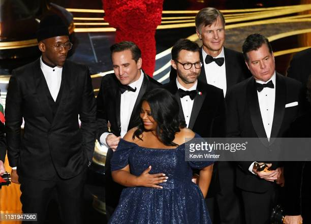 Winners such as Mahershala Ali Octavia Spencer and Brian Currie accept the Best Picture award for 'Green Book' onstage during the 91st Annual Academy...