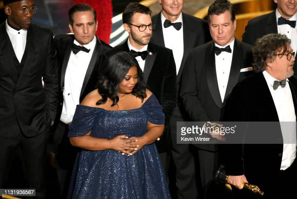 Winners such as Mahershala Ali Octavia Spencer Brian Currie and Charles B Wessler accept the Best Picture award for 'Green Book' onstage during the...