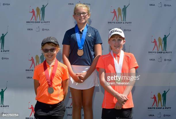 Winners Tori Barson Sawyer Brockstedt and Grace Ridenour of the Girls 1011 Division of The Drive Chip and Putt Championship at Pinehurst Resort on...