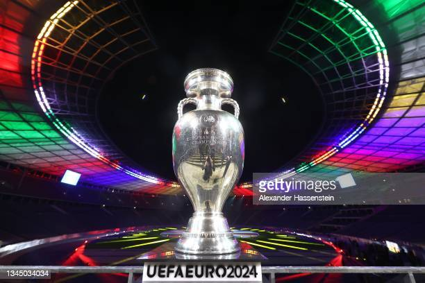 Winners Trophy is pictured duirng the UEFA EURO 2024 Brand Launch at Olympiastadion on October 05, 2021 in Berlin, Germany.
