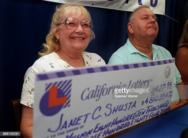 Janet Shusta and her husband Al Shusta at press conference Monday The Oxnard couples won the Saturday California Lottery the cash value was $4384
