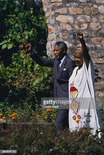 Winnie and Nelson Mandela the day after his historic release at Bishop Desmond Tutu's house Former President of South Africa and longtime political...