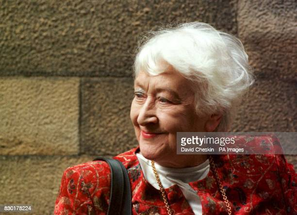 Winnie Ewing the oldest member of the Scottish parliament standing outside the new Scottish Parliament building before the start of the first day of...
