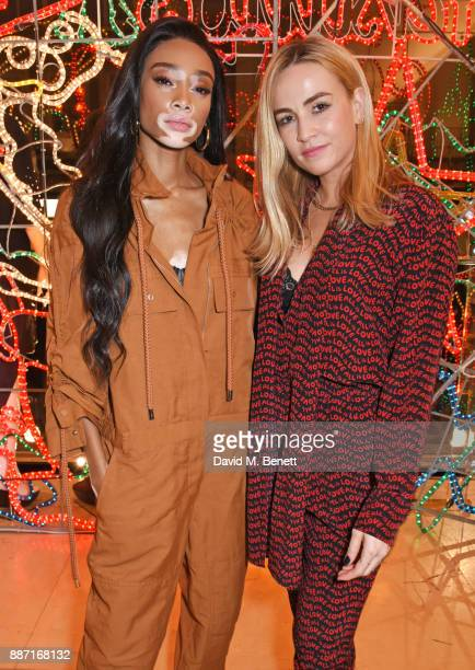 Winnie Harlow and Carmen Jorda attend the Stella McCartney Christmas Lights 2017 party on December 6 2017 in London England