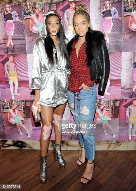 Winnie Harlow and host Jasmine Sanders attend the DL1961 campaign launch with Sofia Richie and Jasmine Sanders at The Nice Guy on March 8 2017 in Los...