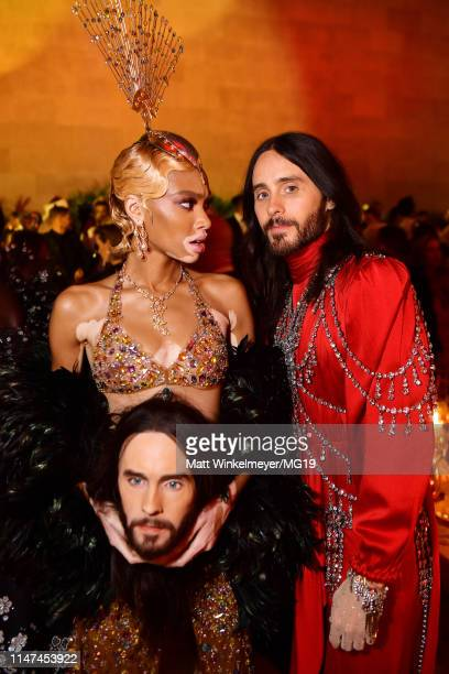 Winnie Harlow and Jared Leto attend The 2019 Met Gala Celebrating Camp Notes on Fashion at Metropolitan Museum of Art on May 06 2019 in New York City