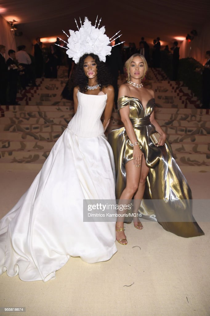Winnie Harlow and Jasmine Sanders attends the Heavenly Bodies: Fashion & The Catholic Imagination Costume Institute Gala at The Metropolitan Museum of Art on May 7, 2018 in New York City.