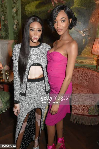 Winnie Harlow and Jourdan Dunn attend as Tiffany Co partners with British Vogue Edward Enninful Steve McQueen Kate Moss and Naomi Campbell to...