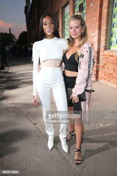 Winnie Harlow and Lottie Moss attend the HUGO show during the Berlin Fashion Week Spring/Summer 2019 at Motorwerk on July 5, 2018 in Berlin, Germany.