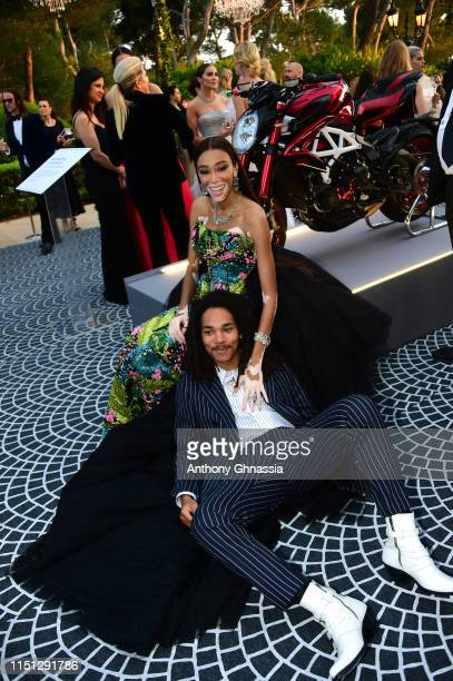 Winnie Harlow and Luka Sabbat attend the amfAR Cannes Gala 2019 at Hotel du CapEdenRoc on May 23 2019 in Cap d'Antibes France