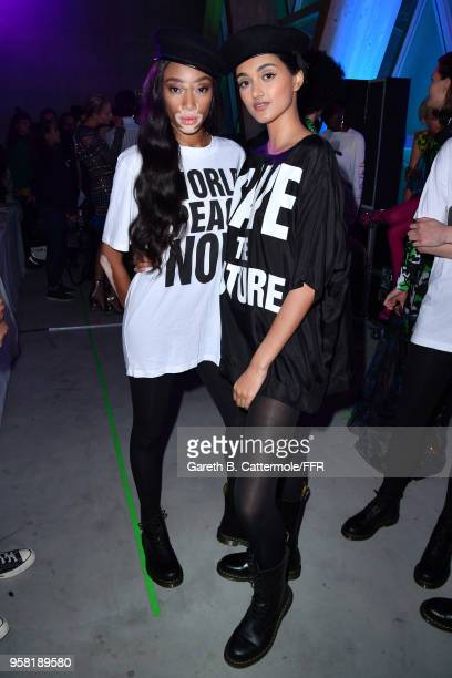 Winnie Harlow and Neelam Gill pose backstage at Fashion for Relief Cannes 2018 during the 71st annual Cannes Film Festival at Aeroport Cannes...