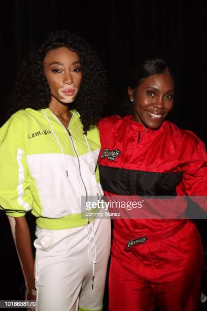 Winnie Harlow and Nikki Taylor backstage at PlayStation Theater on August 13 2018 in New York City