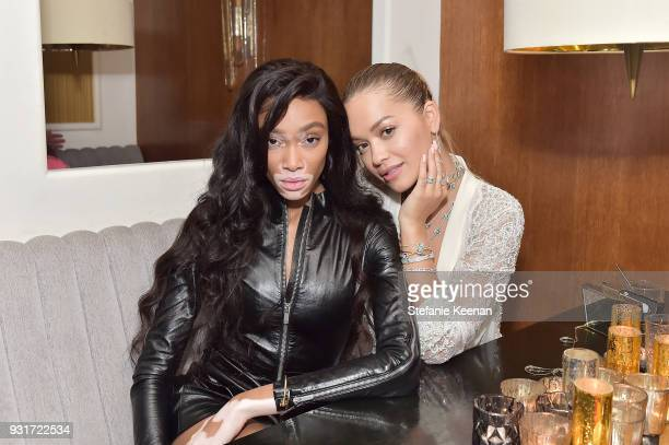 Winnie Harlow and Rita Ora attend Lorraine Schwartz launches The Eye Bangle a new addition to her signature Against Evil Eye Collection at Delilah on...