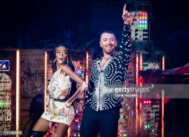 Winnie Harlow and Sam Smith perform during The BRIT Awards 2019 held at The O2 Arena on February 20 2019 in London England