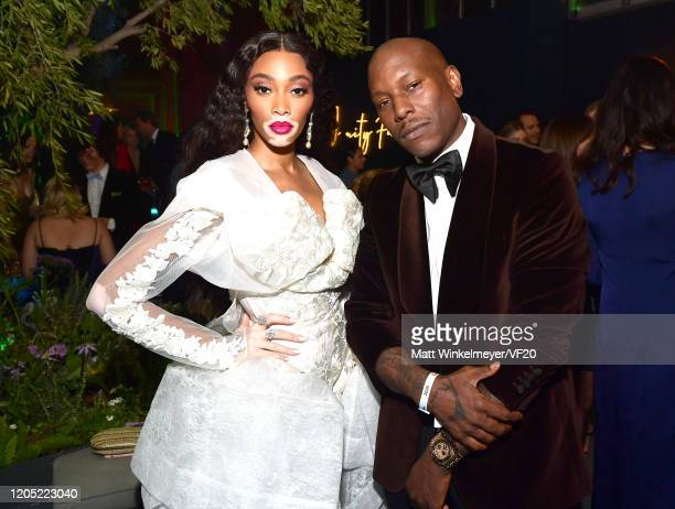 Winnie Harlow and Tyrese Gibson attend the 2020 Vanity Fair Oscar Party hosted by Radhika Jones at Wallis Annenberg Center for the Performing Arts on...