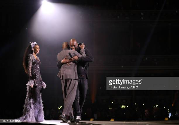 Winnie Harlow and Virgil Abloh present the British Emerging Talent Menswear Award to Samuel Ross for ACOLDWALL during The Fashion Awards 2018 In...