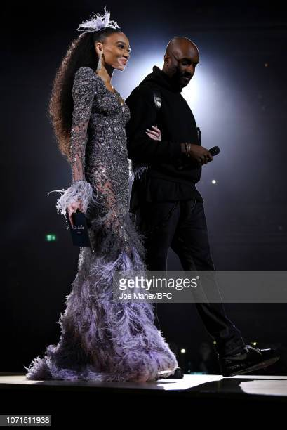 Winnie Harlow and Virgil Abloh presents the British Emerging Talent Menswear award during The Fashion Awards 2018 In Partnership With Swarovski at...