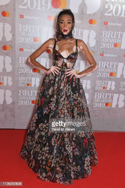 Winnie Harlow arrives at The BRIT Awards 2019 held at The O2 Arena on February 20, 2019 in London, England.