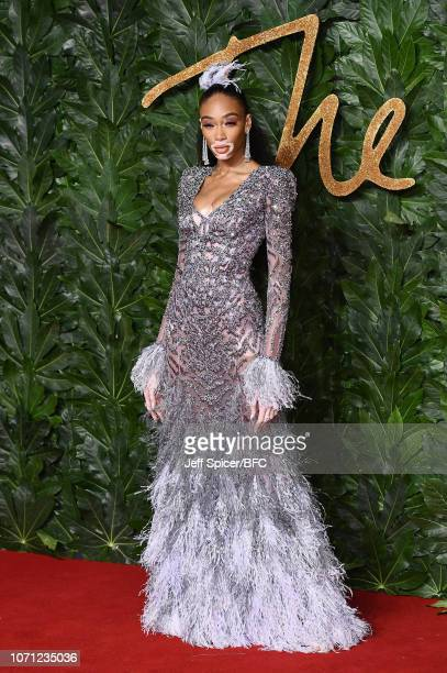 Winnie Harlow arrives at The Fashion Awards 2018 In Partnership With Swarovski at Royal Albert Hall on December 10 2018 in London England