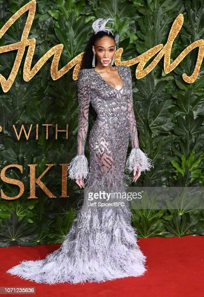 b5113d372 Winnie Harlow arrives at The Fashion Awards 2018 In Partnership With  Swarovski at Royal Albert Hall