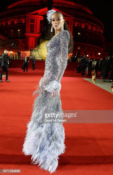 Winnie Harlow arrives at The Fashion Awards 2018 in partnership with Swarovski at the Royal Albert Hall on December 10 2018 in London England