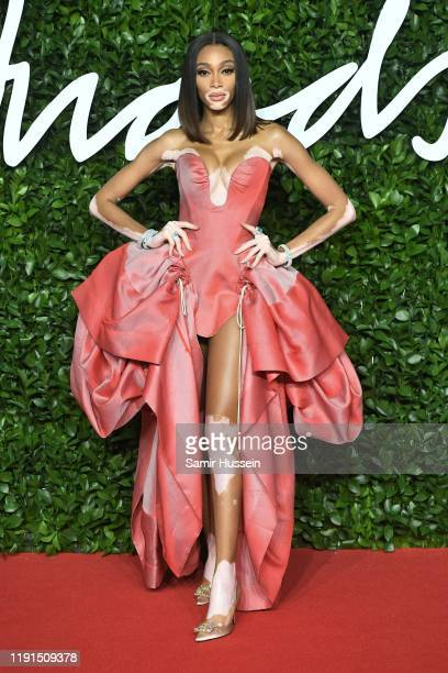 Winnie Harlow arrives at The Fashion Awards 2019 held at Royal Albert Hall on December 02, 2019 in London, England.
