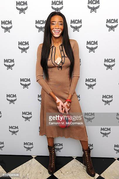 Winnie Harlow arrives for MCM x Christopher Raeburn SS17 show at Grand Connaught Rooms on June 11 2016 in London England