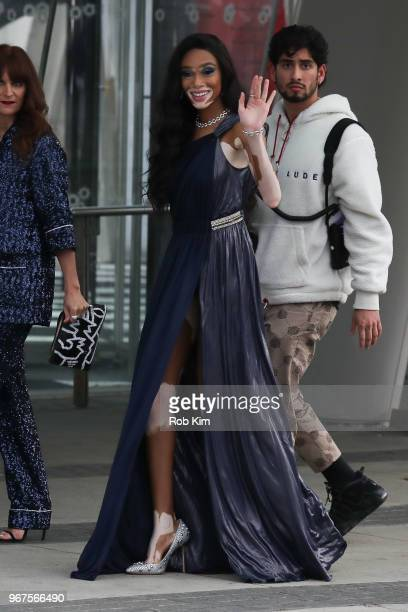 Winnie Harlow arrives for the 2018 CFDA Fashion Awards at Brooklyn Museum on June 4, 2018 in New York City.