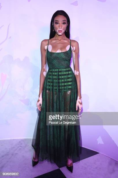 Winnie Harlow attends Le Bal Surrealiste Dior during Haute Couture Spring Summer 2018 show as part of Paris Fashion Week on January 22 2018 in Paris...