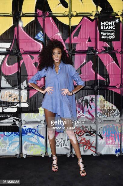 Winnie Harlow attends Montblanc cocktail party during the 94th Pitti Immagine Uomo on June 14 2018 in Florence Italy